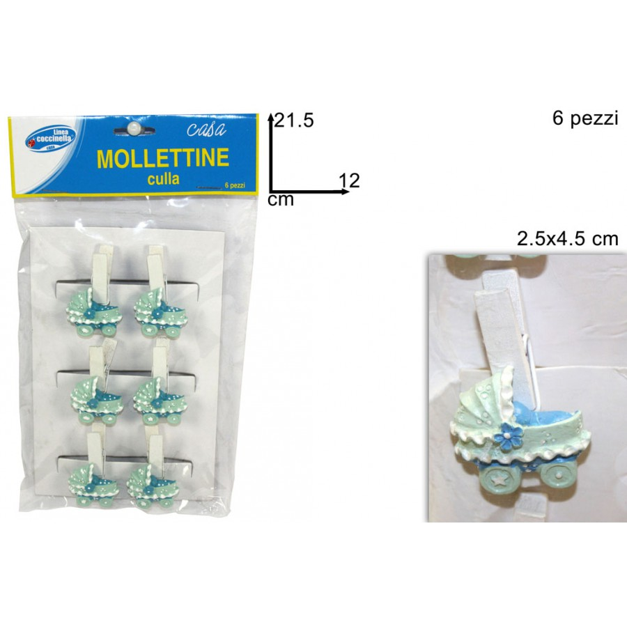 Confezione 6 mollettine legno con applicazione culla for Culla azzurra