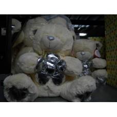 orso con fiore argento cm 50